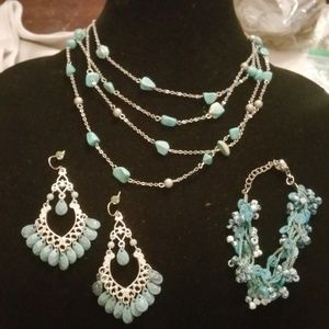 Southwest Silver & Teal Jewelry Bundle